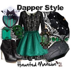 Haunted Mansion Dapper Day look complete with a lace parasol and a mansion maid fascinator. #dapperday #disney #hauntedmansion