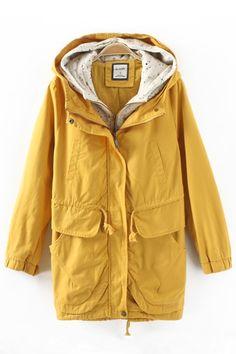 Yellow Elastic Waist Long Sleeves Hoodie Outerwear