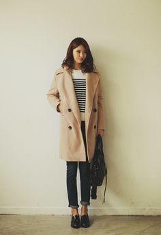 jacket, striped sweater, hair
