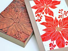 Handmade Christmas Card - Poinsettia Linocut by TheImaginationSpot