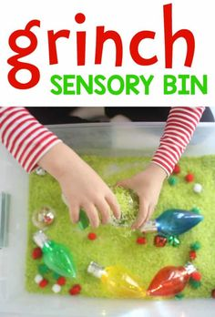 Grinch Christmas Sensory Bin - I Can Teach My Child! Christmas Activities For Toddlers, Preschool Christmas, Grinch Christmas, Toddler Christmas, Christmas Crafts, Crafts For Kids, Fall Crafts, Sensory Activities, Infant Activities