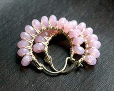 Pink beaded hoops lilac pink earrings wire by MimiMicheleJewelry Pink Earrings, Silver Hoop Earrings, Bead Earrings, Diy Schmuck, Schmuck Design, Wire Wrapped Jewelry, Beaded Jewelry, Gold Jewelry, Jewelry Box