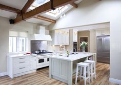 Hand Painted Kitchen With Modern Feel, HERITAGE COLLECTION, Hand Painted, Straight lines, crisp design, fresh modern colours all add to the overal impact of this bespok... - O'Connor Kitchens Kitchen Paint, Kitchen Design, Kitchen Ideas, Kitchen Island Unit With Seating, Modern Colors, Home Kitchens, The Unit, Hand Painted, Straight Lines