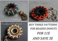 Set of beaded donuts  tutorials by EridhanCreations on Etsy