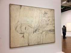 Cy Twombly, Untitled (New York), 1954, industrial paint, wax crayon, pastel, on canvas. Cy Twombly Foundation.
