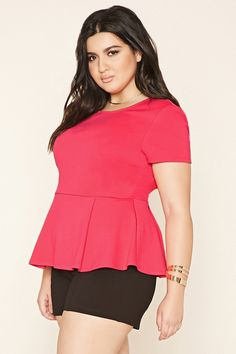 Forever 21+ - A knit peplum top featuring a round neckline and short sleeves.