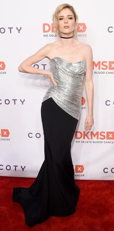 Coco Rocha channeled supermodel glam at the 11th Annual DKMS Big Love Gala, wearing a jaw dropping gown with a silver metallic ruched bodice and glamorous train, styled with just a simple skinny choker.