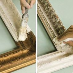 Annie Sloan shares a technique that brings out the beautiful detail on gilded surfaces with pronounced carving such as mirrors & frames. Apply ASCP to the surface, getting it into all the recesses. Once the paint has dried thoroughly, take a damp cloth and wipe over the raised carving leaving paint in the recesses. By wiping just a few times, paint can be left as a wash over some of the raised areas so the effect is soft, or it can be wiped quite cleanly so the difference in the gold and pai
