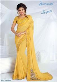 Laxmipati Yellow Chiffon Saree Laxmipati Sarees, Lehenga Style Saree, Saris, Indian Clothes Online, Indian Sarees Online, Fancy Sarees, Party Wear Sarees, Yellow Saree, Chiffon Saree