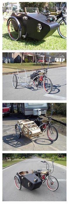 DIY Sidecar bicycle. Fantastic antique design. Better with some sort of hood so kids don't get wet?