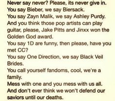 BVB ARMY we're a family there may be 100 of u and only 50 of us but we stick together unlike u would.