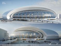 Image 6 of 15 from gallery of Craiova Football Stadium Proposal / Proiect Bucuresti. Courtesy of Proiect Bucuresti Organic Architecture, Light Architecture, Futuristic Architecture, Amazing Architecture, Contemporary Architecture, Stadium Architecture, Architectural Engineering, Architectural Drawings, Unique Buildings