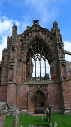 Melrose Abbey is a Gothic-style abbey in Melrose, Scotland. It was founded in 1136 by Cistercian monks on the request of King David I of Scotland.
