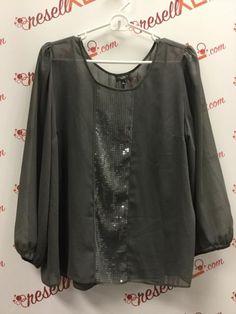 da28e16025b56b Talbots Size 16P Gray Blouse with Sequin Detail. ResellXL®