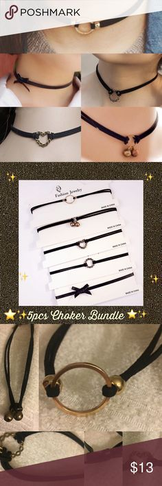 5pcs Choker Necklace Bundle Bow Heart Gold Karma 5pcs Choker Necklace Bundle 13-15in long adjustable - Gold Circle Karma Choker, Bronze Twisted heart n twisted circle pendant, Bronze bells, faux leather bow choker 90s Retro ‼️Please read‼️ 🎉Sale🎉 All prices ✂️ 💯Brand new HIGH QUALITY💯 💯What u see is what u get💯 ⚡Next day ship⚡ ✔Offers welcome on items $13+ 🚫No Trades 💖Just got💍engaged 💍 5-21 - 3yrs Long distance we r working Very hard to be together. Please help us on our journey…