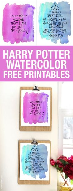 Harry Potter quote printables with a fun watercolor background. Download for FREE! #harrypotter #printables