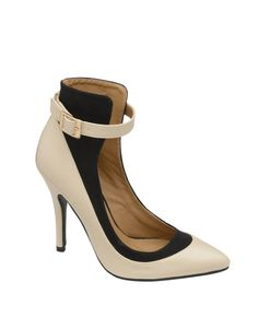 Colour Block Pointed Toe Ankle Strap