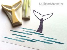 whale rubber stamp. hand carved rubber stamp. hand carved stamp. whale fin and wave. set of 2.  get Tabi to carv a stamp