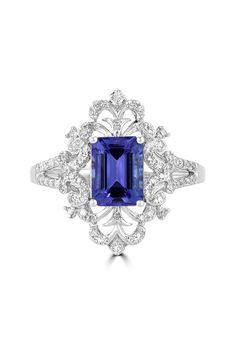 Effy Tanzanite Royale 14K White Gold Tanzanite and Diamond Ring, 1.57 TCW - Rings - Women