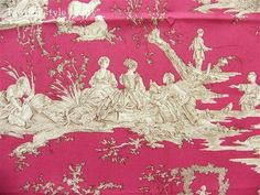 tissu toile de Jouy Delices des 4 saisons (toile, beige fond rose) 復刻版トワルドジュイ布:四季の喜び(トワル、ピンクベースベージュ)