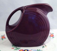 Fiesta® Dinnerware Heather Large Disc Pitcher made by Homer Laughlin China Company Fiesta Colors, Water Pitchers, Homer Laughlin, Shades Of Purple, Dinnerware, Pottery, China, Dishes, Mugs