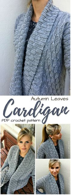 Autumn Leave Cardigan. What a gorgeous crochet pattern for this lovely sweater! Long live the long sweater!!! #etsy #ad #stylish #pdf #download #instantdownload