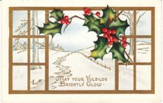 Vintage Postcard Christmas Holly Snow Through Window Whitney Made Embossed Card | eBay