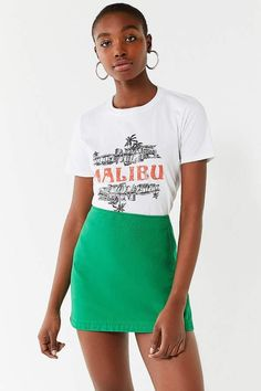 Urban Outfitters Malibu Crew-Neck Tee - S Clothes 2018, Romper With Skirt, Tees For Women, Urban Outfitters, Fitness Models, Crew Neck, Mini Skirts, Short Sleeves, Street Style