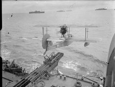 fishstickmonkey: Catapult launching a Supermarine Walrus from HMS Mauritius / Lt. Amphibious Aircraft, Ww2 Aircraft, Aircraft Carrier, British Armed Forces, Flying Boat, Royal Air Force, Submarines, Royal Navy, Luftwaffe