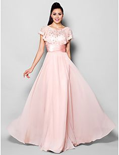 Formal Evening Dress - Blushing Pink A-line Jewel Floor-leng... – USD $ 119.99