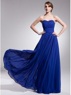 A-Line/Princess Sweetheart Floor-Length Chiffon Bridesmaid Dress With Ruffle (007051836) - JJsHouse
