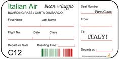 ChickDuckGoose — italy for kids, airplane boarding pass, cardboard airplane, crafts for kids, activities for kids