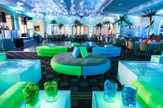 Bat Mitzvah Party, Teen Lounge with LED Furniture {By Balloon Artistry, Sarah Merians Photography} - mazelmoments.com