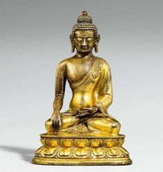 Lot : Buddha Shakyamuni. Feuervergoldete Bronze. Tibet. 18./19. Jh.  - Gekleidet in[...]   Dans la vente Art d'Asie à Kunsthaus Lempertz