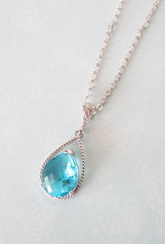 Aquamarine Glass Teardrop Necklace, Cubic Zirconia bail, gifts for her, wedding, Blue Bridal Bridesmaid necklaces, Bridesmaids,by GlitzAndLove, www.glitzandlove.com