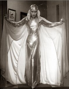 Kathryn Hepburn. Like some kind of glamour alien from Mars! I love the sci fi look of this image