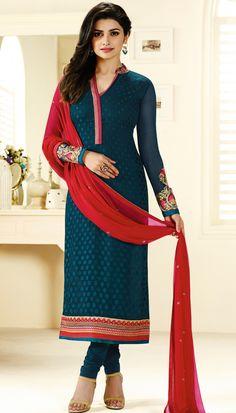 Prachi Desai Brasso Teal Beautiful Straight Suit With Chiffon Dupatta