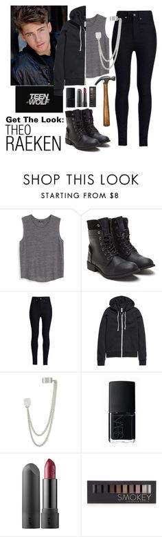 """""""Get The Look: Theo Raeken"""" by queen-candy02 ❤ liked on Polyvore featuring MANGO, Rodarte, H&M, French Connection, NARS Cosmetics and Forever 21"""
