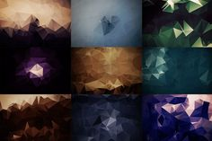 Package containing 27 abstract polygonal backgrounds made in Adobe Photoshop at a resolution of 3000x2000px.  Buy this package here: https://creativemarket.com/The_DrX/1278184-Abstract-Polygonal-Backgrounds