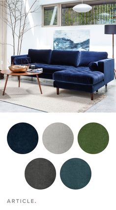 Five low-pile velvets options, to stand the test of time for both wear and style. I am buying this. Blue Couch Living Room, Navy Living Rooms, Living Room Sectional, New Living Room, Living Room Furniture, Living Room Decor, Bedroom Decor, Sectional Sofa, 70s Bedroom