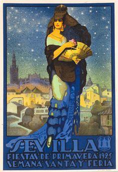 Sevilla. Fiestas de Primavera. By Juan Miguel Sanchez, 1925 http://www.pinterest.com/rubydeblonde/sevilla-posters/