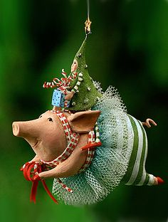 Joyful Flying Pig Ornament by Patience Brewster