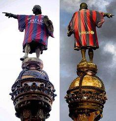 Cristopher Culumbs Statue In Barcelona