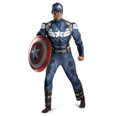 """To help you get into character as the first avenger this Halloween pick up the Mens Classic Captain America Winter Soldier Muscle Costume. This Captain America costume, modeled after the look in the """"Winter Soldier"""" movie, is comprised of a full-body jump Superhero Costumes For Men, Sexy Halloween Costumes, Adult Costumes, Adult Halloween, Spirit Halloween, Avengers Costumes, Halloween 2014, Halloween Party, Captain America Winter"""