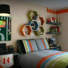 Hexagon Storage Unit   http://spoonful.com/crafts/boys-bedroom-projects#carousel-id=photo-carousel=4