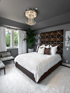 Teen Room, Grey Bedroom Design Ideas With Grey Wall Cozy Bed With Modern Headboards White Fur Rug Pillow Glass Window Comfy Sofa White Curtains Chandelier Style Crystals Antique Brass Light Shade Pendant: Stunning Fresh Bedroom Trends in 2014 You Must See Small Master Bedroom, Dream Bedroom, Home Bedroom, Bedroom Furniture, Bedroom Ideas, Bedroom Photos, Master Bedrooms, Bedroom Designs, Small Bedrooms