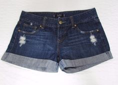 Forever 21 Distressed Rolled cuffed Dark Wash Low rise Jean Short Shorts sz 29