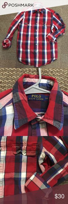 Men's Ralph Lauren Flannel This is a Ralph Lauren men's flannel, but I'm a woman and love it! It has a slightly oversized fit because it is a men's. Very cute with Jeans and heels :) excellent condition! Open to offers! :) Ralph Lauren Tops