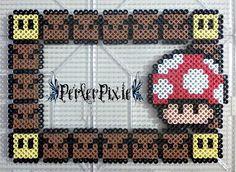 Mario Mushroom Picture Frame Perler Beads by PerlerPixie