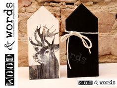 Weißes+Haus+aus+Holz+mit+Hirsch+im+Set+von+woodandwords+auf+DaWanda.com